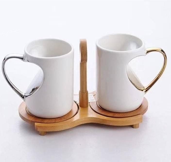 870b03bc4e6 BonZeal White Ceramic Heart Handle Coffee / Tea with Wood Coaster Stand  (Set of 2) Ceramic Mug (370 ml, Pack of 2)
