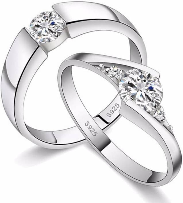 386b1bfc3 MYKI King & Queen Adjustable Couple Love Rings Sterling Silver Swarovski  Zirconia 24K White Gold Plated Ring Price in India - Buy MYKI King & Queen  ...