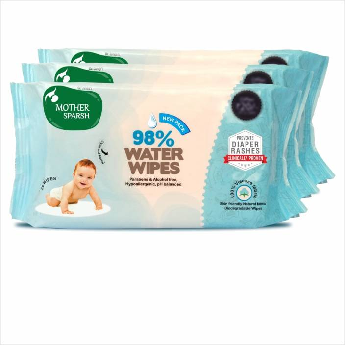 Mother Sparsh Baby Water Wipes (80 Wipes), Pack of 3 - 98% Water, Skin Friendly, Natural Fabric, Biodegradable Wipes