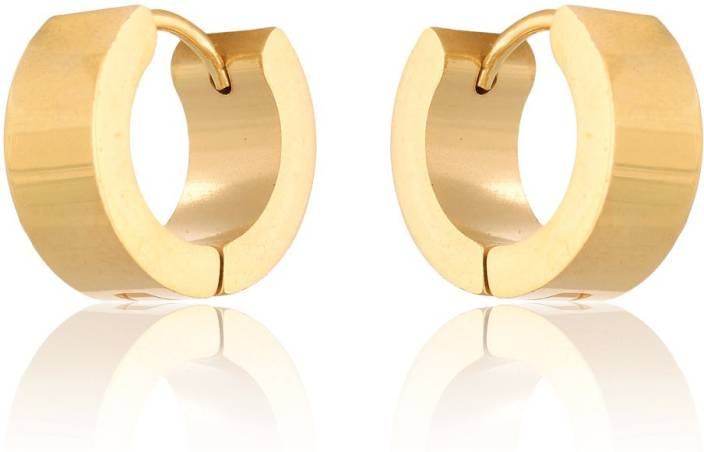 363080d7b Flipkart.com - Buy Sullery 8 mm Thick Gold Mens Huggie Earrings Men's  Fashion Jewelry Stainless Steel Huggie Earring Online at Best Prices in  India