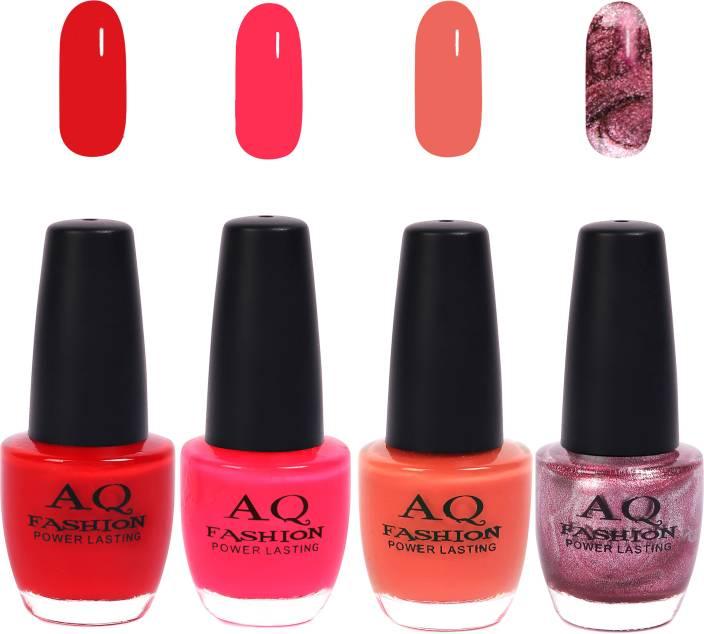AQ Fashion Funky Vibrant Range of Colors Nail polish Bright Red,Hot  Pink,Peach,Shimmer Purple