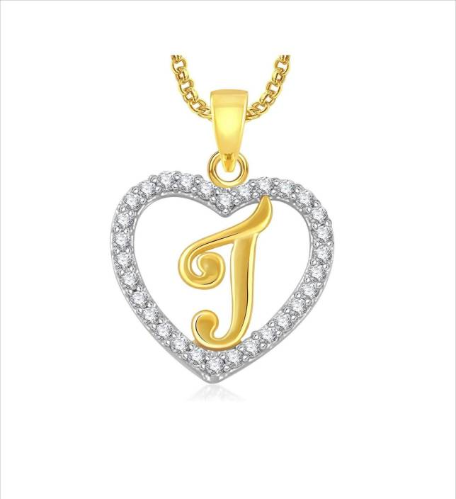 Stylish Teens Modish Alphabet 'J' Letter Heart Locket With Chain For