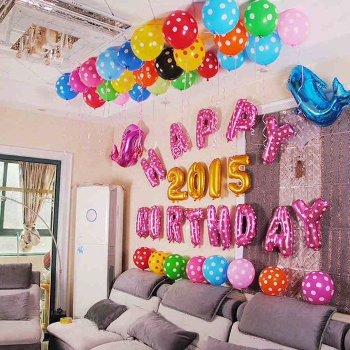 Factory 21 Multicolor 63 Pcs Set For Unique Birthday Decorations Large Foil Balloon With 13 Alphabets