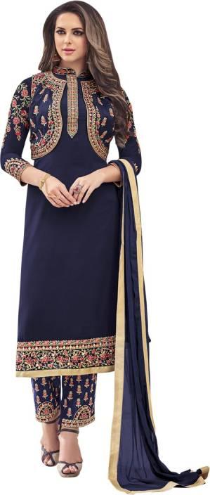 Saara Georgette Embroidered, Embellished Semi-stitched Salwar Suit Dupatta Material