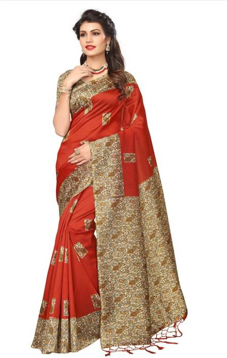 Saara Animal Print, Printed Daily Wear Poly Silk Saree  (Orange, Multicolor)