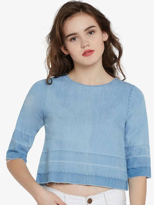 3dd76b6ca68 Miss Chase Casual 3 4th Sleeve Solid Women s Blue Top - Buy Miss ...