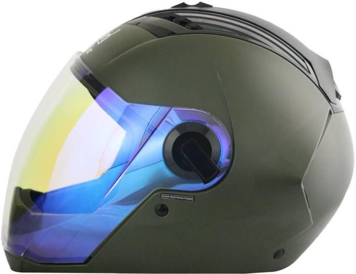0114da64 Steelbird AIR SBA-2 NIGHT VISION Motorbike Helmet (MATT BATTLE GREEN)