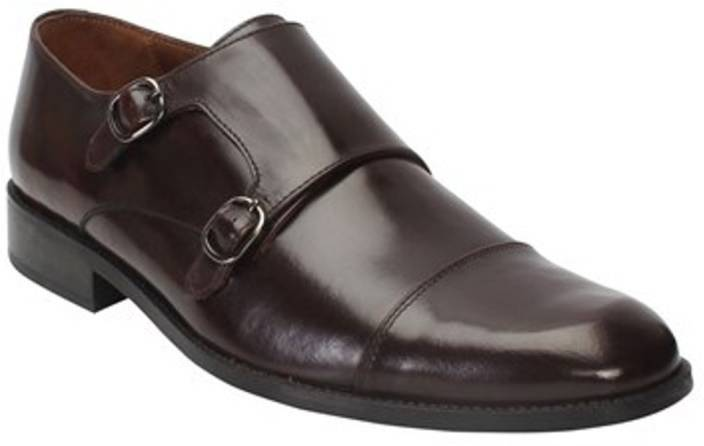 8db7c705cfa7 brune DARK BROWN GENUINE LEATHER CAP TOE DOUBLE MONK STRAP FORMAL SHOES BY BRUNE  Monk Strap For Men (Brown)
