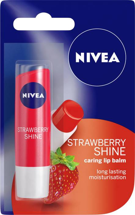 Nivea Shine Caring Lip Balm Strawberry  (Pack of: 1, 4.8 g)
