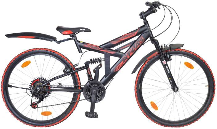 205c62053f2 Atlas Bomber Dual Suspention Bike For Adults Black&Red 26 T Mountain Cycle  (21 Gear, Black)