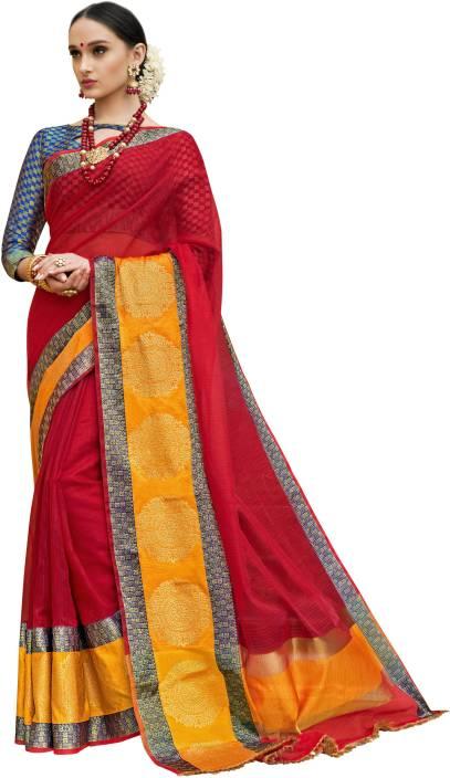 cbdeaa9ab3 Buy Taanshi Self Design Kanjivaram Cotton Silk Red Sarees Online ...