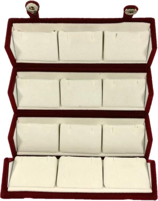 Addyz Midium Earring Studs Tops Velvet Folder 12 Pairs Organizer Jewellery Vanity Box