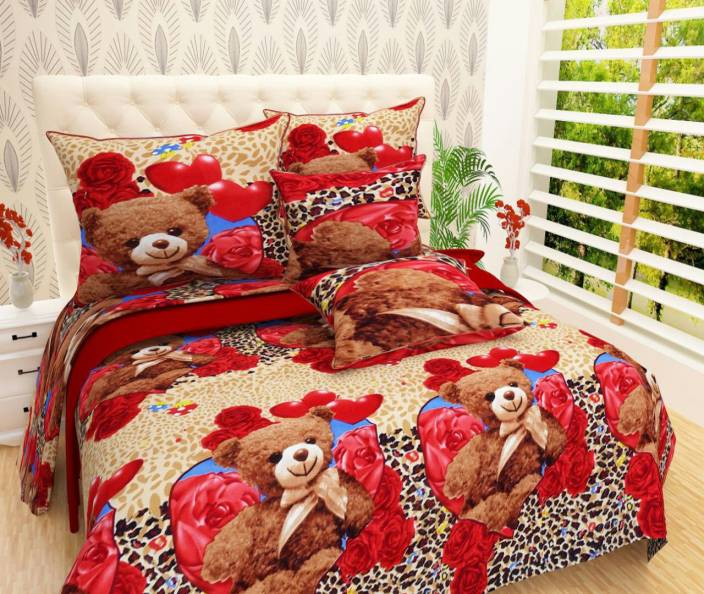 Red Bear 144 TC Cotton Double Floral Bedsheet