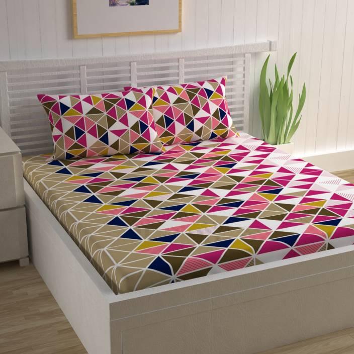 CURL UP 104 TC Cotton Double Geometric Bedsheet