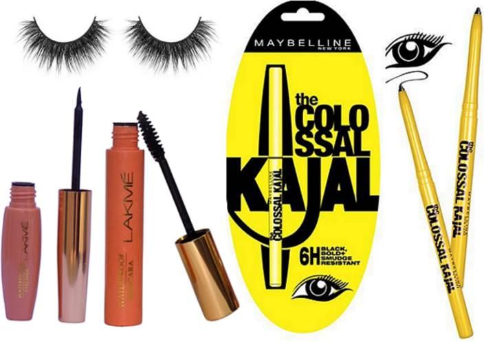 74a7e541e7d royal combo Eyelashes,Lakme Eyeliner,Mascara,Maybelline Colossal Kajal Set  Of 3 (Set of 6)