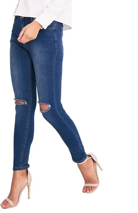 Ansh Fashion Wear Skinny Women Blue Jeans