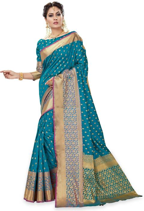 Sanku Fashion Embellished Assam Silk Pure Silk, Banarasi Silk, Art Silk, Jacquard Saree