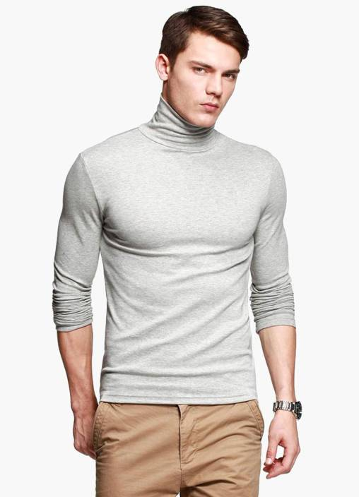 5501e6918ac Fanideaz Solid Men s Turtle Neck Grey T-Shirt - Buy Fanideaz Solid ...