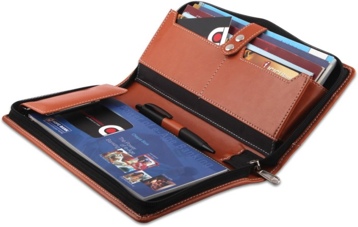 Multi Pocket Faux Leather Cheque Book Holder With Zip Closure Free Shipping