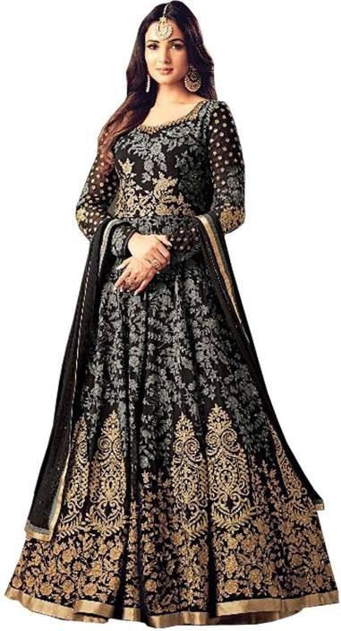 Sasimo Georgette Self Design, Embroidered Semi-stitched Salwar Suit Dupatta Material