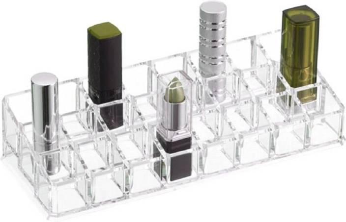 f0834c911d07 WDS Acrylic Makeup Organizer - 24 Compartment - Transparent Luxurious Clear  Lipstick Holder Cosmetic Case Lipstick Holder Vanity Box (Transparent) ...