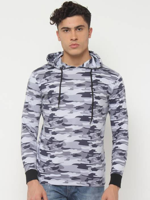 SayItLoud Military Camouflage Men's Hooded Grey T-Shirt