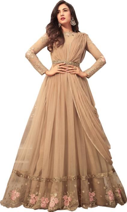 Shoponbit Net Embroidered Semi-stitched Salwar Suit Dupatta Material