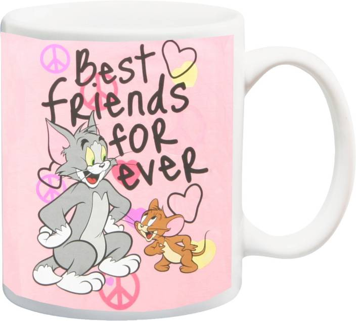 ME&YOU Gifts for Friends On Friendship Day Happy Birthday (IZ17-VK-MU-01522) Best Friends Forever With Tom And Jerry Printed Ceramic Mug (325 ml)