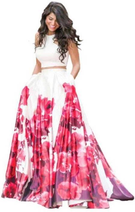 0e5f1c5d789cca crezz n world Floral Print Semi Stitched Lehenga & Crop Top - Buy ...
