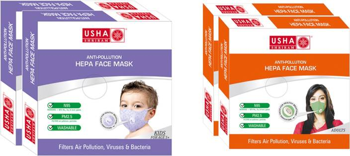Usha Shriram Air Mask Adult and kid Face Mask (pack of 4) k4-a4 Mask and Respirator