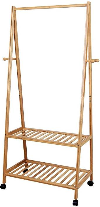 House Of Quirk Garment Coat Rack With 4 Coat Hooks 2 Tier Shoe Clothes Storage Shelves Solid Wood Bamboo Shoe Stand