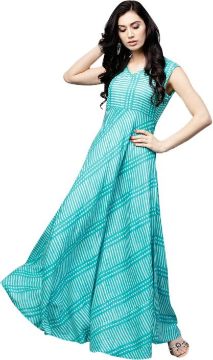 e4b44ef09c3 Aks Women Maxi Blue Dress - Buy Aks Women Maxi Blue Dress Online at Best  Prices in India