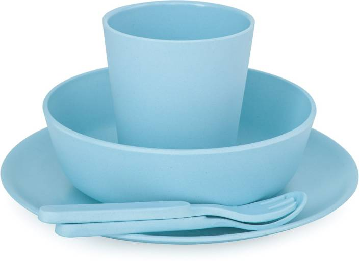 fd0ad66b462dd bobo boo 5 Piece Children s Bamboo Dinnerware Set - Pacific Blue - - Made  from Bamboo