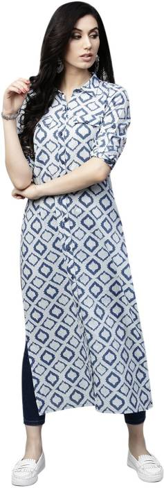 Aks Women Self Design, Printed Straight Kurta