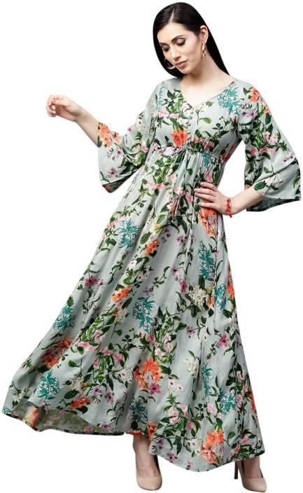 Aks Women Floral Print Flared Kurta