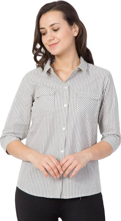 Hive91 Women Striped Casual Button Down Shirt