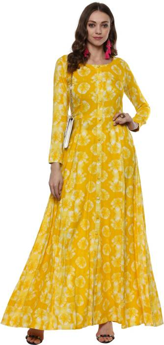 1b63ac1ca1b Indian Virasat Women s Maxi Yellow Dress - Buy Indian Virasat Women s Maxi  Yellow Dress Online at Best Prices in India