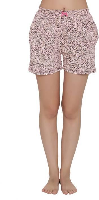 Clovia Printed Women's Beige Boxer Shorts