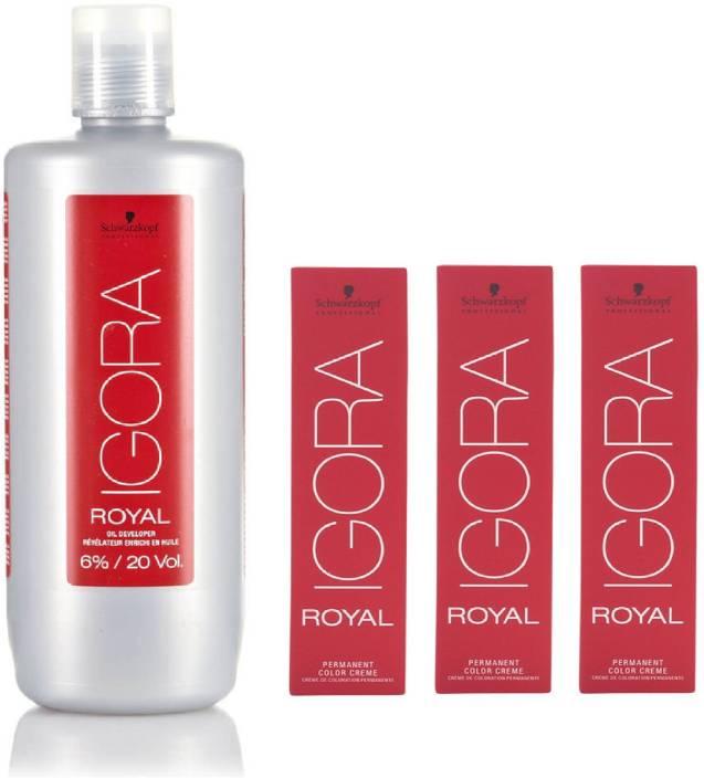 fae42ef220 Schwarzkopf Igora Royal Permanent color crème 1-0 Black (3 tube) 60mL+ Igora  Oil Developer 1000 mL (Set of 4)