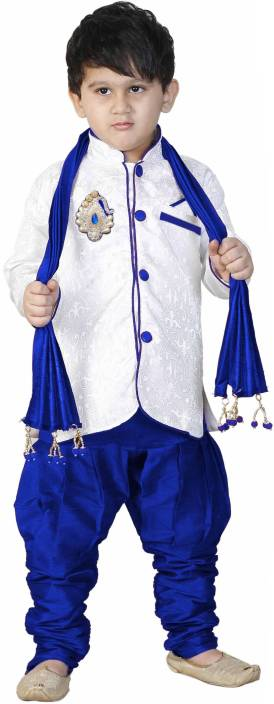 SBN BLUE SHERWANI WITH DUPPATA Boys Festive & Party Kurta and Pyjama Set