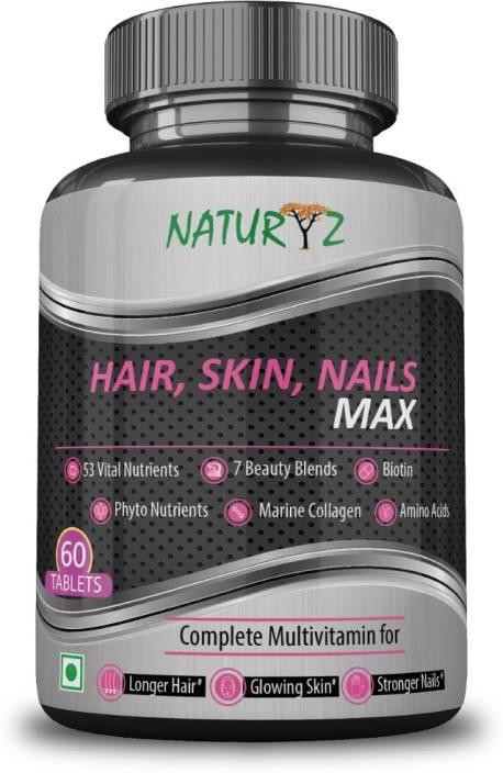 NATURYZ Biotin Hair, Skin & Nails complete Multivitamin with 53 ...