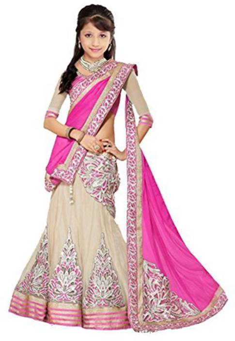 7ec5ca241 MF Retail Girl's Lehenga Choli Ethnic Wear Embroidered Lehenga, Choli and  Dupatta Set (Pink, Pack of 1)