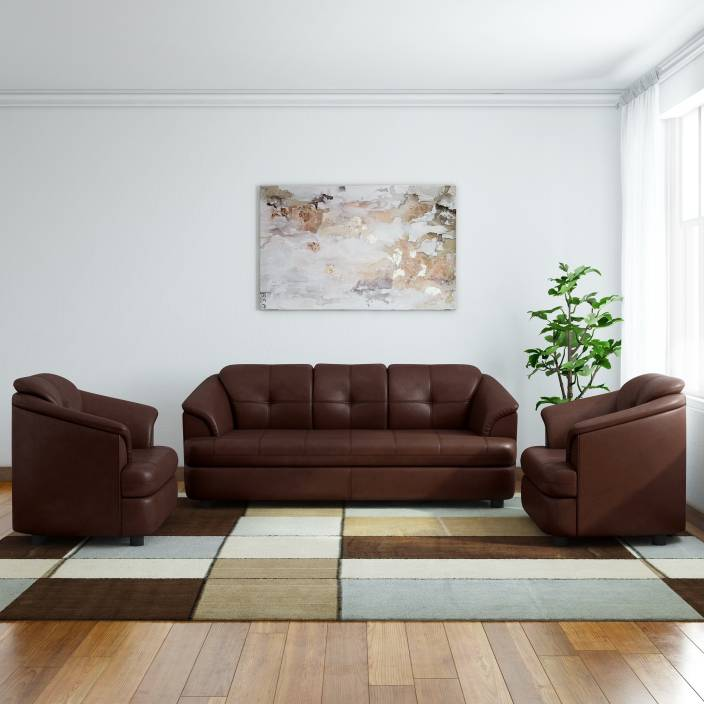 Gioteak Leatherette 3 1 1 Brown Sofa Set Price In