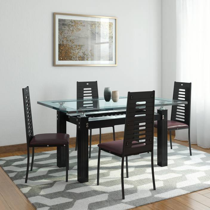 19f048a14e RoyalOak County Glass 4 Seater Dining Set Price in India - Buy ...