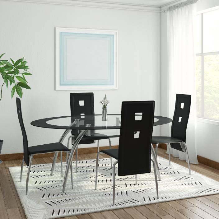 ff1fb2c007d RoyalOak Roger Glass 4 Seater Dining Set Price in India - Buy ...