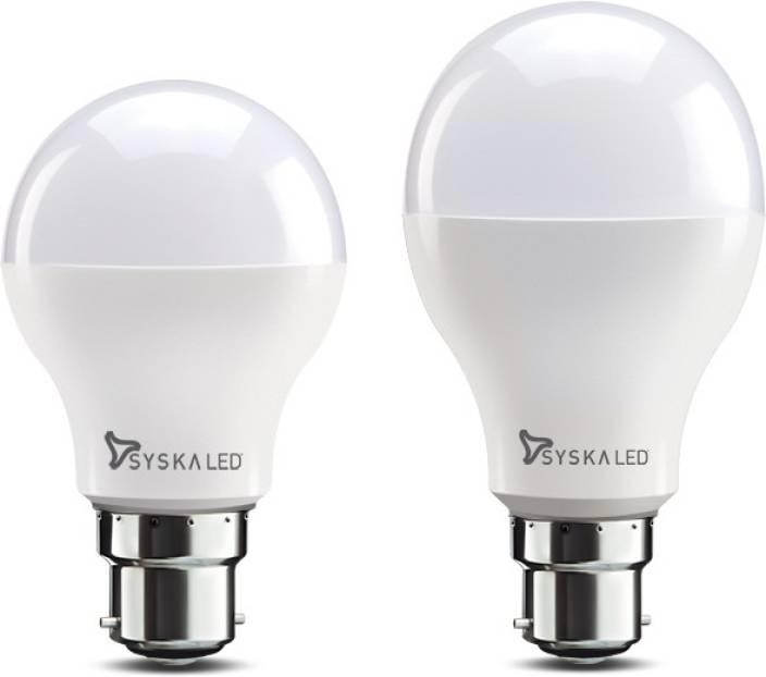 Syska 12 W, 9 W Round B22 LED Bulb