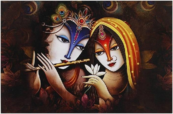 Total Home Size 2ft 4ft Radha Krishna Indian God Hd Wall