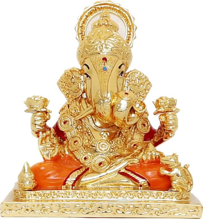 R P Collections Dagadusheth Ganesh Idols Gold Plated Ganesh Idols Idols For Car Dashboard Gold Plated Idols Ganpati Idols For Car Dashboard