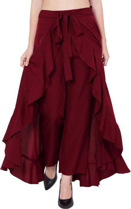 Slenor Solid Women's Layered Maroon Skirt