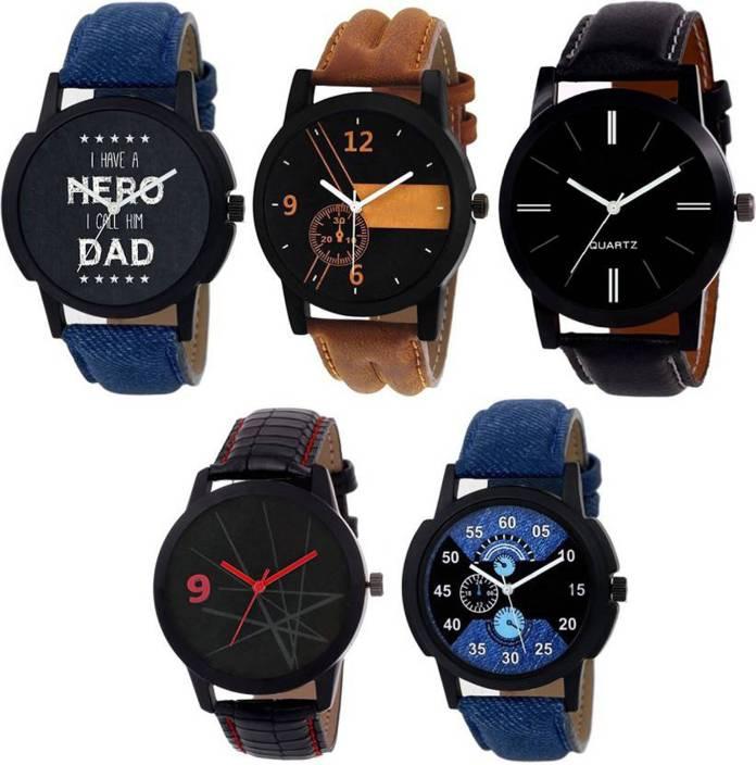 LEBENSZEIT New Modish Fashion Leather Strap Set Of Five Combo Watch For Men & Women Watch - For Boys & Girls